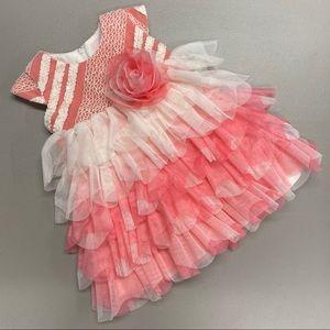 Isobella & Chloe Dress Easter Ruffle Pink White